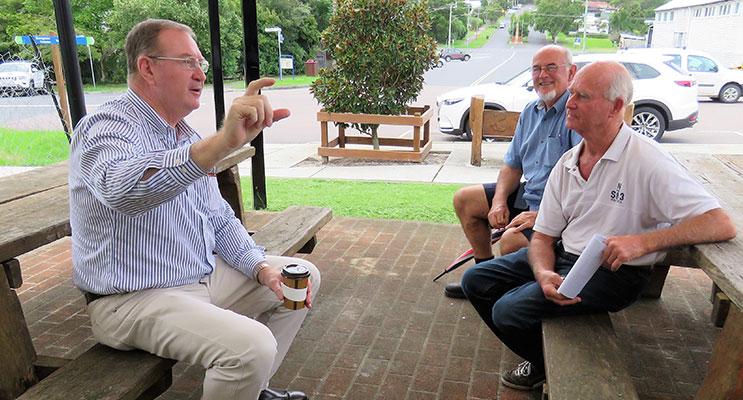 Myall Lakes MP Stephen Bromhead with Bulahdelah RFS members Nigel Weeks and Grahame Rowell.