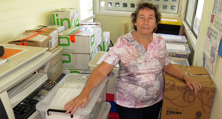 End of an Era: Library books packed ready to be relocated to the Rural Transaction Centre.