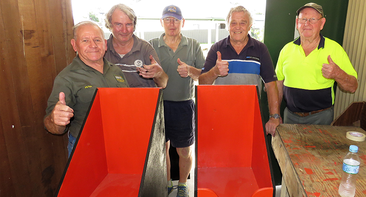 Job Well Done: Peter Millen, Barry Holm, Max Burrows, Rodney Costall and John Renfrew with the completed newsstands.