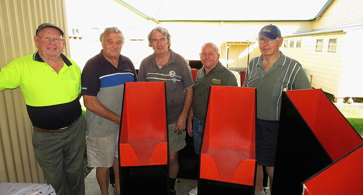 Teamwork: Men's Shed members John Renfrew, Rodney Costall, Barry Holm, Peter Millen and Max Burrows.