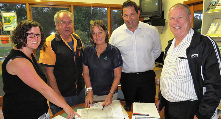 : MidCoast Council Community Liaison Officer Sarah Wilkinson, Lions Park Coordinator Arthur Baker, MidCoast Recreation Coordinator Kerrie Simmons, MidCoast Manager of Community Spaces Daniel Aldridge, and Lions Club President Roger Dixon.