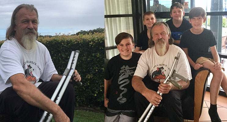 Dave Sams from the Suicide Prevention Network(left) 3.Beau Bramble, Taine Bramble, Jaiden Cavanagh and Hayden Davey with Dave Sams (seated). Photos supplied(right)