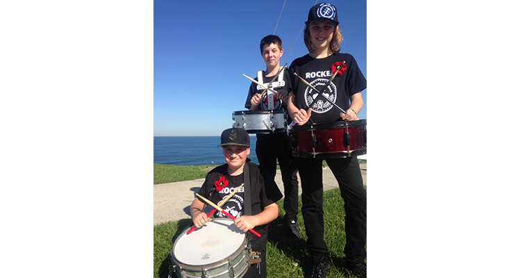 Beau Bramble, Aiden Ferguson and Robbie Nolan from Hunter ANZAC Drum Crew on parade at Fort Scratchley.
