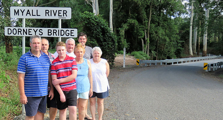 Three Generations of the Dorney Family: Glen, Gary, Michael, Lester, Irene, Helen and Lewis at the new bridge in Markwell.
