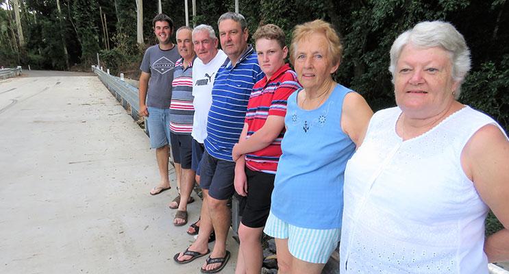 Three Generations: Lewis, Gary, Lester, Glen, Michael, Irene and Helen on the new Dorney's Bridge