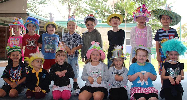 Kindergarten students at Tea Gardens Public School wearing their Easter hats