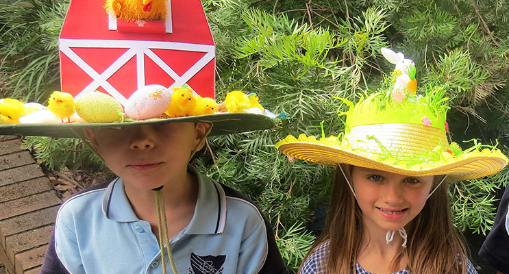 Jasper Gibbs and Grace McRae ready for the BCS Easter Hat Parade.