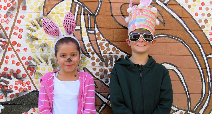 Demani and Cooper dress up for Karuah Public School's Easter Hat Parade.