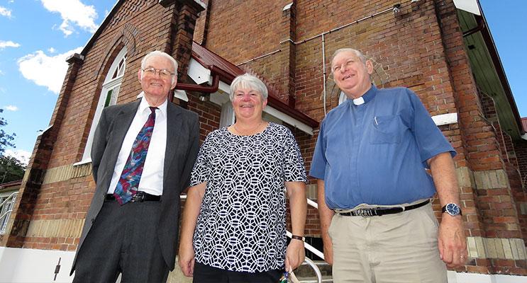 : Community Of Christ Evangelist Frank Flood, Myall Coast Catholic Parish Pastoral Coordinator Sister Libbey Byrne and Anglican Rev Denis Kirkaldy.