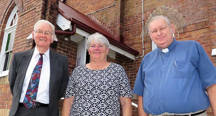Community Of Christ Evangelist Frank Flood, Myall Coast Catholic Parish Pastoral Coordinator Sister Libbey Byrne and Anglican Rev Denis Kirkaldy