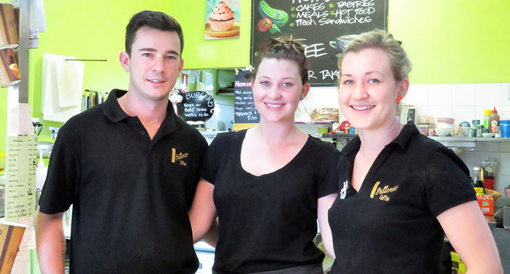 Holiday Rush: Travis Parker, Georgia Aitken and Lacey Dawes were kept busy at Bulahdelah's Cafe On Main.