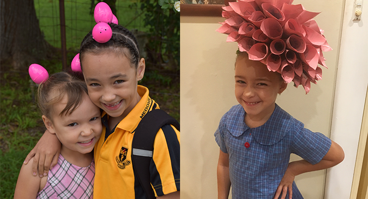 Tori from Medowie Preschool and Ryah from Medowie Public School with their super creative Easter hair. (left)  Lola Bovill, an artist in the making, with her recycled art Easter hat.  (right)