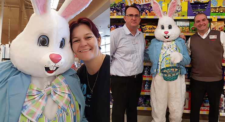 Ann-Marie catches up with the Easter Bunny at Coles. (left) Darren and David from Coles welcome the Easter Bunny to their store. (right)