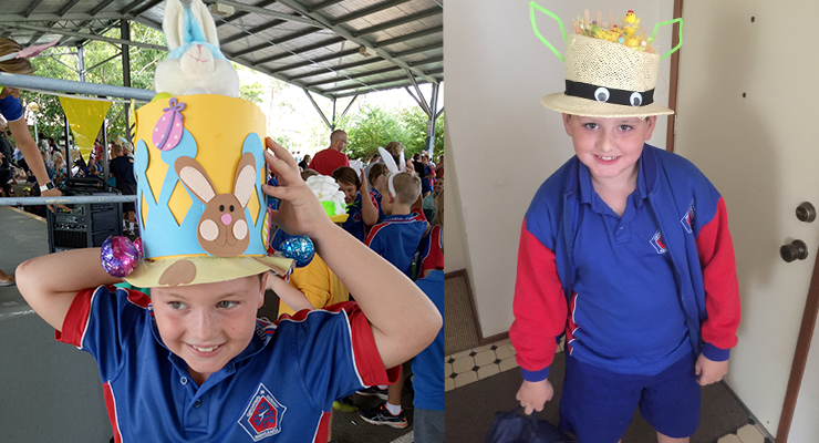 Kayne Conroy with his special creation for the Wirreanda Public School Easter Hat parade.(left) Rhiley from Wirreanda shows off his Easter hat.(right)