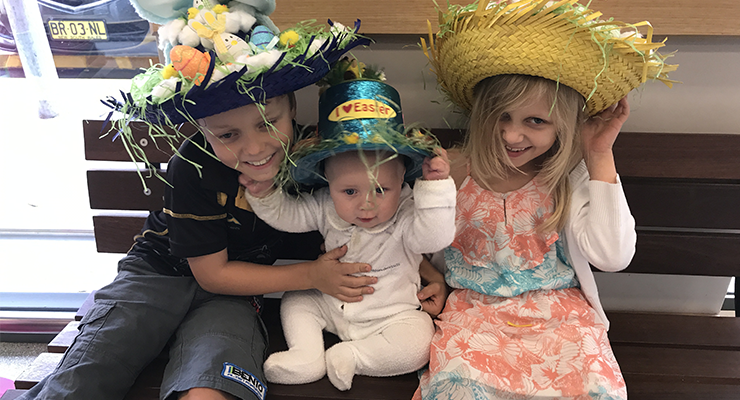 Siblings William, Frederick Montgomery and Adryane Montgomery get into the Easter spirit.