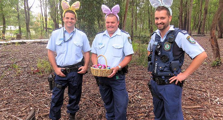 Senior Constables Ashley Ray, Trevor Mcleod and David Feeney, wish everyone an enjoyable and safe Easter.