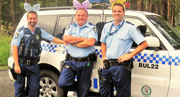 Senior Constables Ashley Ray, Trevor Mcleod and David Feeney urge everyone to slow down on the roads.