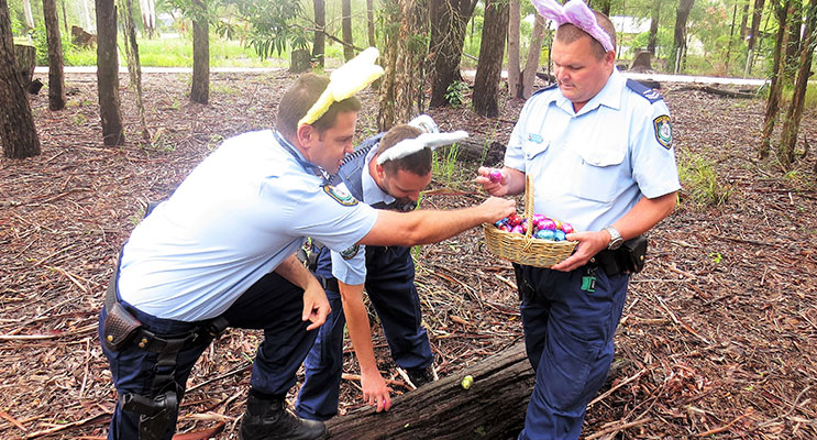Evidence: Senior Constables Ray, Feeney and Mcleod uncover a stash of chocolate eggs.