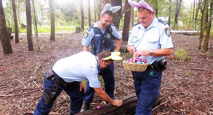 Egg Hunt: Senior Constables Ashley Ray, David Feeney and Trevor Mcleod.