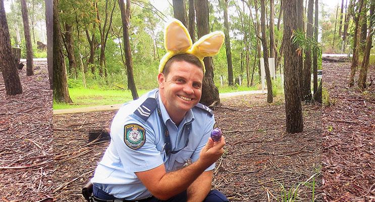 Easter Egg Hunt: Senior Constable Ashley Ray.