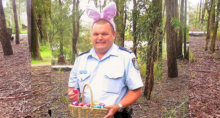 Easter Egg Hunt: Senior Constable Trevor Mcleod.