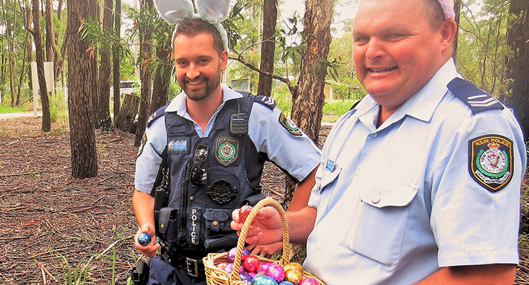Easter Egg Hunt: Senior Constables David Feeney and Trevor Mcleod.