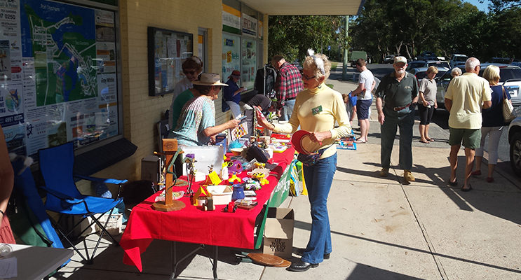 Koala stall outside Hawks Nest Newsagency and Post Office.