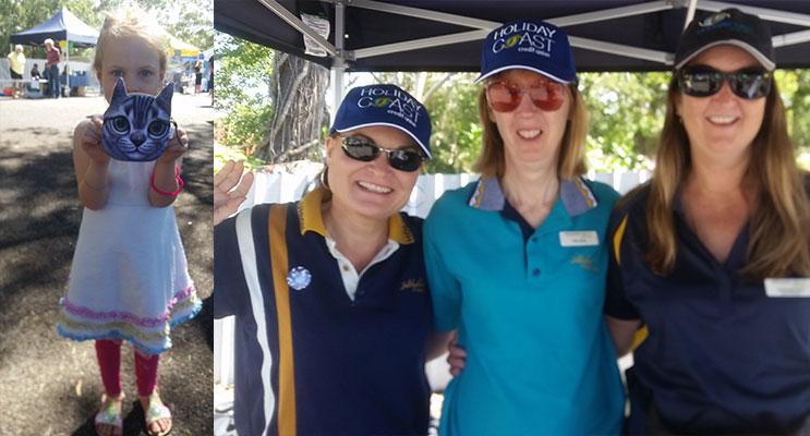 MARDI GRAS FUN: Isla Harris.(left) HOLIDAY COAST: Lisa Coulton, Ros Jones, Julie Hammond.(right)