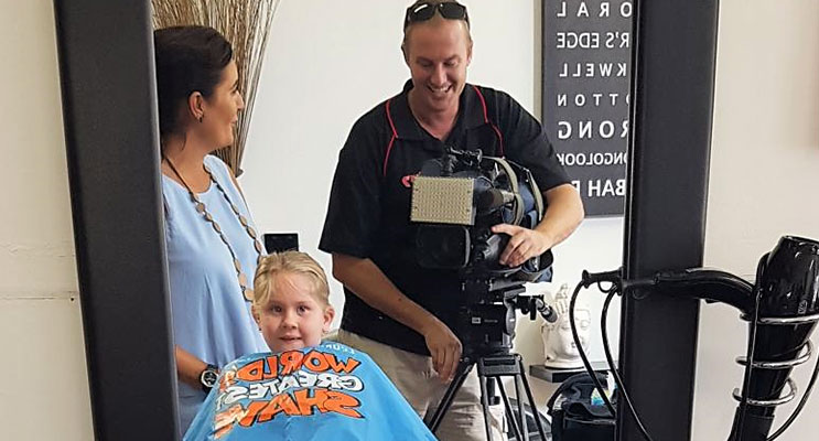 Prime News at Razors Edge Hair Studio, all set to film Kirra-Lea Rooney's locks being lopped by stylist Renee Ballantine. Photo: Supplied