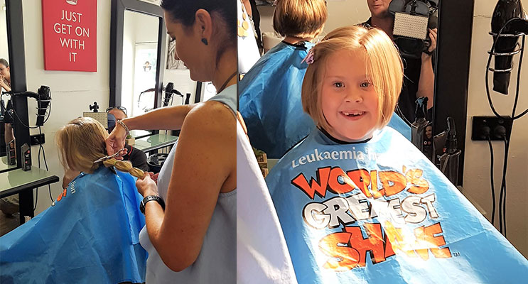 Locks Lopped: Kirra-Lea Rooney's long ponytail being chopped by stylist Renee Ballantine at Razors Edge Hair Studio. Photo: Supplied(left) Kirra-Lea Rooney loves her new, short, hairstyle. Photo: Supplied (right)