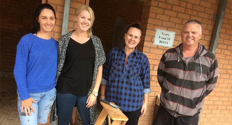 Irrawang teachers Ms Leena Ryan, Ms Ashley Burgess, Ms Meagan Fitzsimmons and Mr Justin Tonks giving up part of their holidays for the school they love.