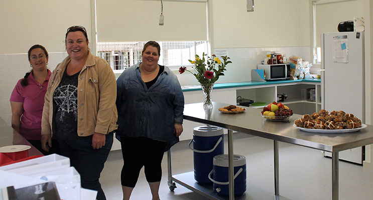 P&C Members Mrs Veronica Hartmann, Mrs April Lilley and Mrs Leah Leonard in the school's refurbished canteen.