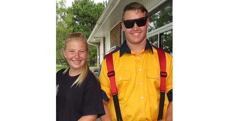Bulahdelah RFS members Meagan Terry and Jake Blanch assisted with the Lismore flood cleanup.