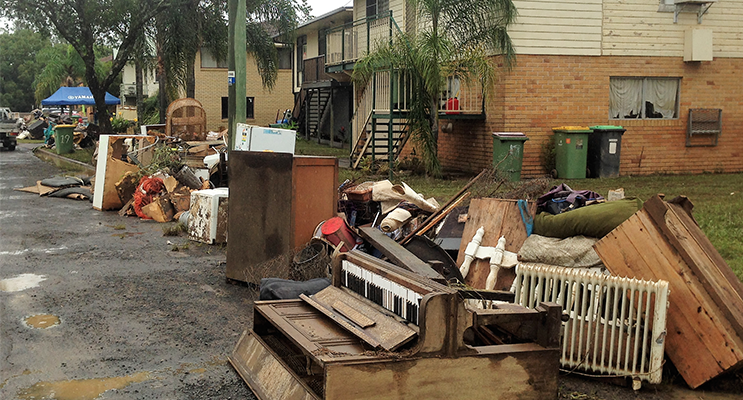 Lismore Cleanup: Flood damaged possessions piled in the streets. Photo supplied
