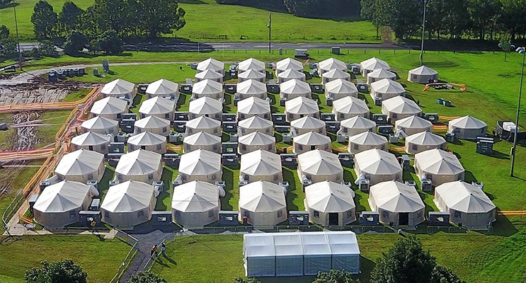 Tent City accommodation for the RFS volunteers at Lismore. Photo supplied