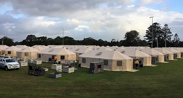 RFS volunteers were accommodated at Tent City in Lismore. Photo supplied