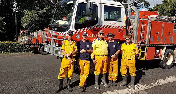 Tilligerry and Medowie relief crew members - George Brandenburg, Kevin Jansen, Garth Payne, Tony Cousins and Andrew Goodwin at Coraki.