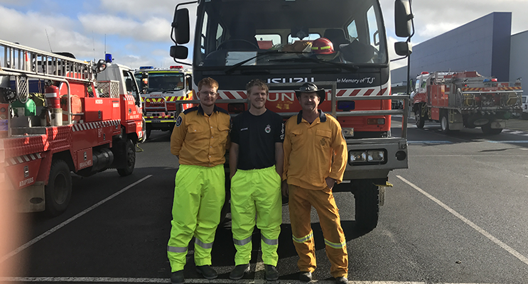 Andrew Goodwin, Joshua Morgan and Tony Cousins - the second Medowie relief crew to head North.
