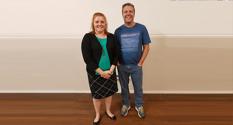 Sean Walker with Rachael Corrigan of Hunter Connect.  Photo by Sarah Stokes