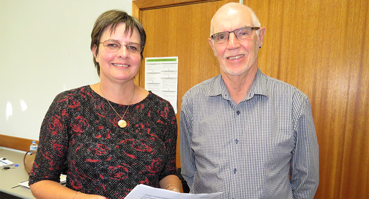 MidCoast Council Community Development Coordinator Lyndie Hepple with John Williams from the Myall U3A.