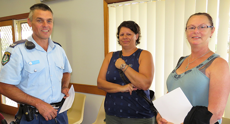 Funding Workshop: Senior Constable Rob Wylie with Angela Randell representing the Hawks River Rugby League Club and Jane Eastabrook from Tea Gardens Sharks Soccer Club.