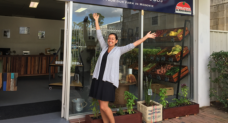 Nicole Marquez outside the shop on opening day.
