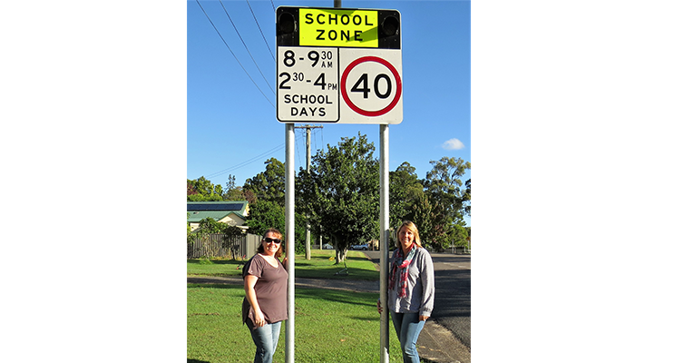 School Zone Speed Limit: BCS Deputy Principal Deb Gilbert and parent Melissa Smith.