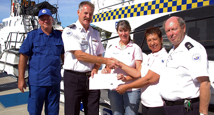 Duty Skipper, Robert Johnson, Unit Commander, Lee Uebergang, Ines Thomas, Shelley Winter and Deputy Unit Commander, Neil Hansford.  Photo by Marine Rescue Port Stephens