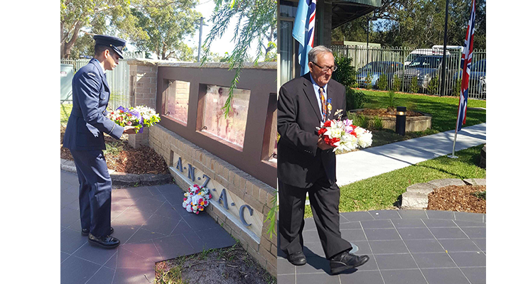 ANZAC GUEST SPEAKER: Sheran Silva, Williamtown Air Force Base. (left) ANZAC WREATH LAYING: Barry Whiteman RSL Sub Branch. (right)