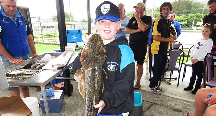 Jayden Skellern with his 3.4 kg monster flathead.