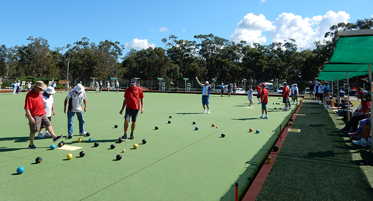 "Eureka: an elated bowler, making his first shot of the day, during the Sunday Mixed Bowls ""Duke of Wellington"" visit."