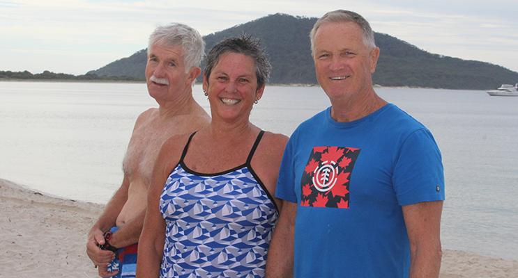 Liz McKay and Chris Mobbs with former member Col Bertram.