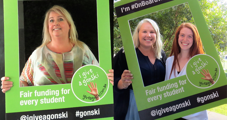 NSW Teachers Federation Councillor Vanessa Shultz. (left) Fair Funding for Every Student: Teachers Kaleena Whatson and Megan Henry.(right)