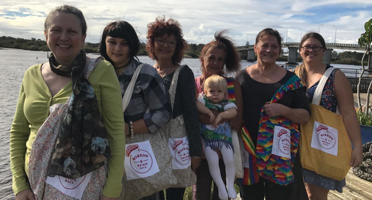 Boomerang Bags Tea Gardens Hawks Nest Volunteers: Margaret Gooding, Sam Allen, Dalene Ding, Ingrid Feltis, Marley Allen, Caroline Price and Brooke Allen.
